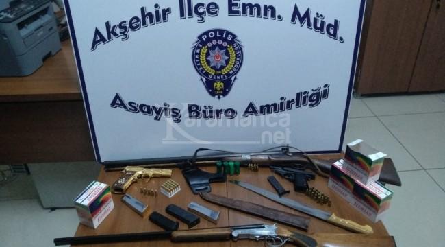 Akşehir'de operasyon düzenlenen galeri cephaneliği aratmadı