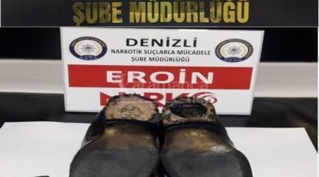 Ayakkabısının topuğunda eroinle taşırken terminalde yakalandı