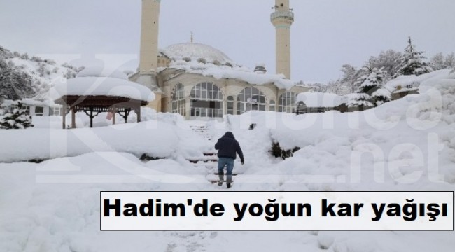Hadim'de yoğun kar yağışı
