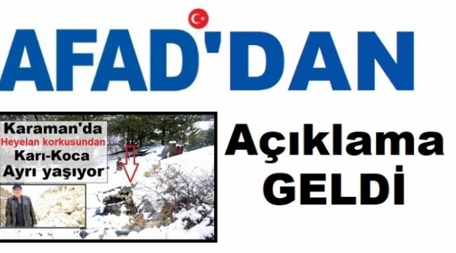 Karaman AFAD'dan açıklama