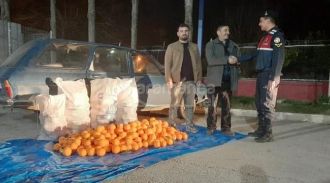 800 kilo portakal çalan hırsızlar yakalandı