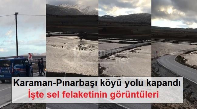 Karaman-Pınarbaşı köyü yolu kapandı