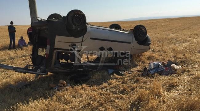 Kulu'da işçileri taşıyan hafif ticari araç takla attı 4 yaralı