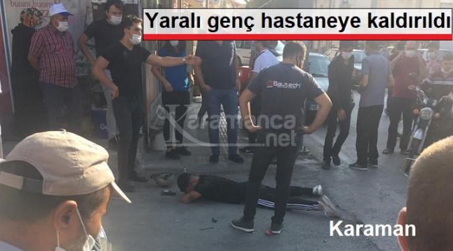 Karaman'da minübüsle çarpışan motosiklet sürücüsü yaralandı