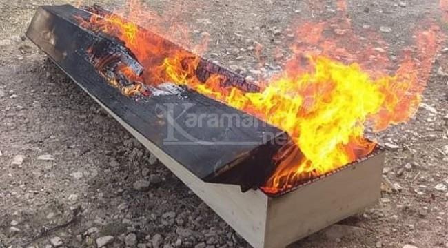 Koronadan ölen şahsın tabutu yakıldı