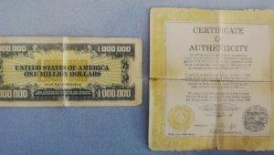 Sınırlı sayıda bastırılan 1 milyon dolar banknot ele geçirildi