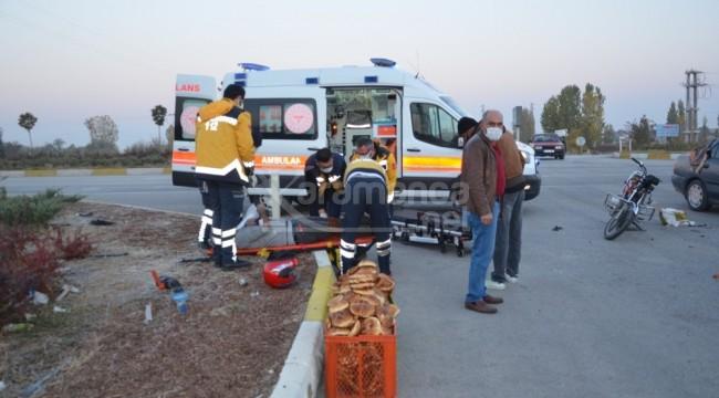 Ereğli'de otomobil ile motosiklet çarpıştı 2 yaralı