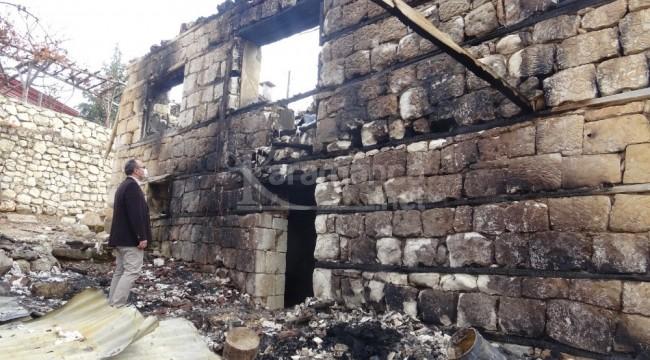 Karaman'da belde halkı evi yanan aile için kampanya başlattı