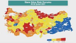 Bakan Koca, şehirlerin Risk Durumu haritasını paylaştı