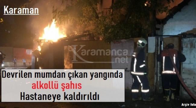 Karaman'da devrilen mumdan çıkan yangında 1 kişi hastaneye kaldırıldı