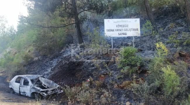 Araç patlayınca ormanda yangını çıktı