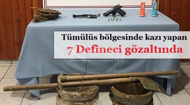 Tümülüs bölgesinde define arayan 7 kişi gözaltına alındı