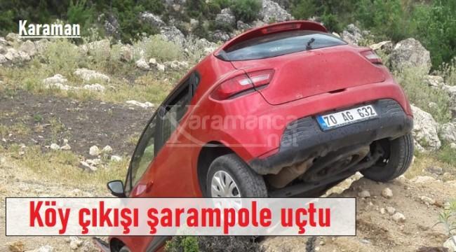 Karaman'da kontrolden çıkan otomobil şarampole uçtu