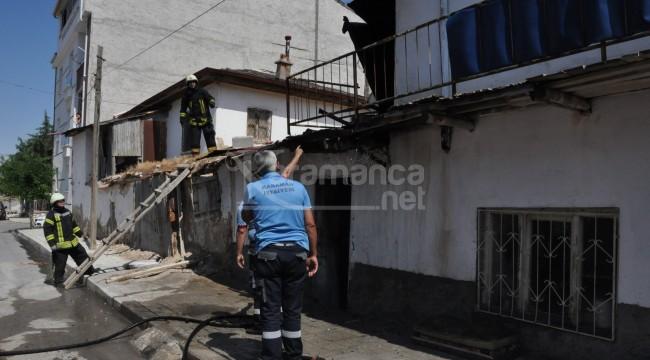 Karaman'da kerpiç evde çıkan yangın büyümeden söndürüldü