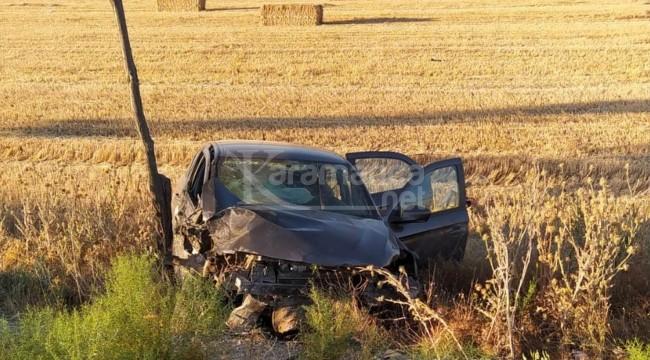 Karapınar'da otomobil tarlaya uçtu 4 yaralı
