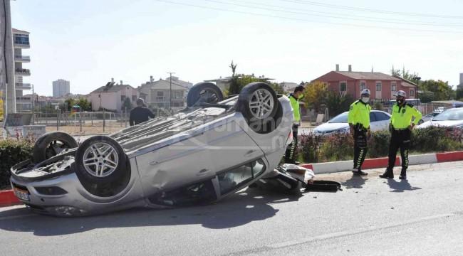 Karaman'da takla atan otomobilin sürücüsü ölümden döndü