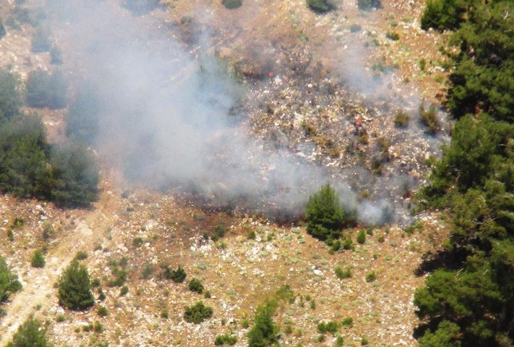 Helikopter ile trafik denetimine gittiler, orman yangını ile karşılaştılar